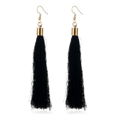 1 pair fashion bohemian women's black long tassel hook earrings jewelry