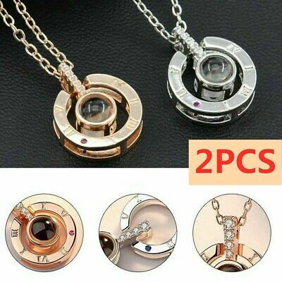2PCS 100 Languages Light Projection I Love You Pendant Necklace Lover Jewelry US