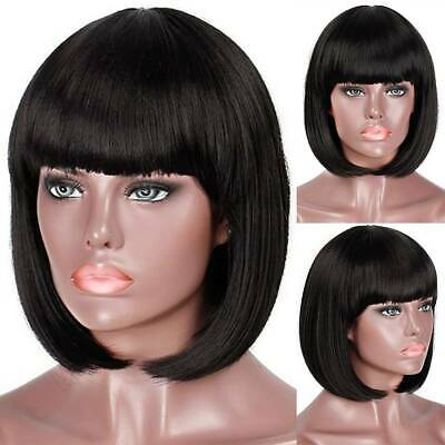Women Ladies Short Black Straight Hair Wig Bob Style Fashion Full Wig With Bangs
