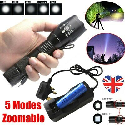 900000LM Rechargeable Zoomable Flashlight T6 LED 5 Modes Torch+Battery+Charger