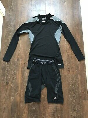 Adidas Black compression techfit base layer shorts And Top Size M