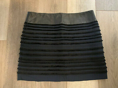 Rag & Bone Blue / Black Lamb Leather Trim Skirt Womens SZ 12