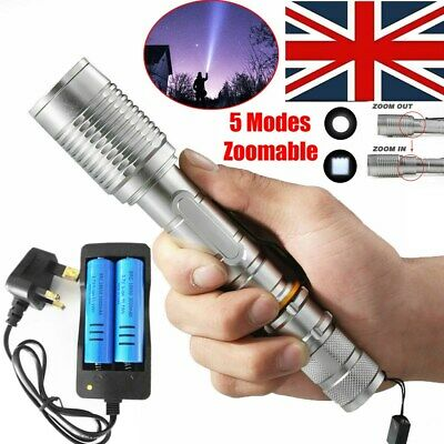 900000LM T6 LED Flashlight 5 Modes Tactical Rechargeable Torch +Battery +Charger