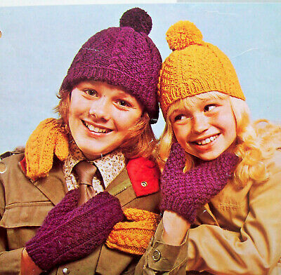 Girls Boys Cable Hat Bobble Cap Mittens KNITTNG PATTERN Aran 2-13 years  525