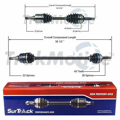 SurTrack Pair Set of 2 Front CV Axle Shafts For Hyundai Accent Kia ...