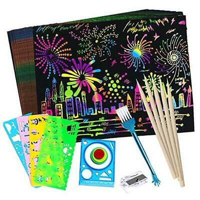 50 Pcs Rainbow Magic Scratch Off Arts Crafts Supplies Kits Black Scratch Notes Boards Sheet for for Easter Party Game Christmas Birthday Gift AONOKOY Scratch Paper Art for Kids