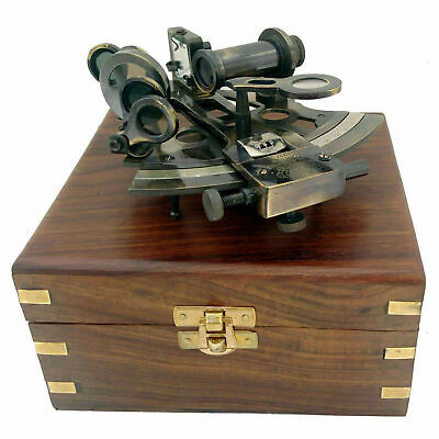 Gift Brass Sextant Compass Nautical Marine solid antique finish in wooden Box