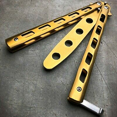 GOLD Butterfly Balisong Trainer Knife Training Dull Blade Practice Stainless NEW