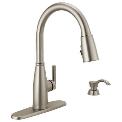 Delta Varos Pull Down Kitchen Faucet Single Handle W Soap Dispenser Stainless 80 22 Picclick Uk