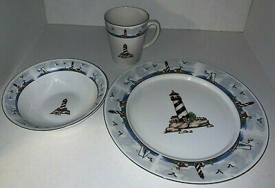 Totally Today Lighthouse 4 Pc Dinner Salad Plate Soup Bowl Coffee Mug Cup 9843