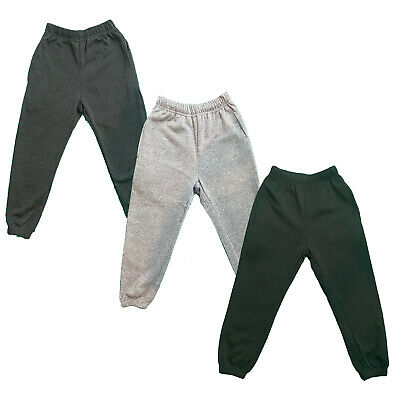 Boys Girls Kids Plain Jogging Sports Tracksuit Bottoms Joggers Fleece PE School