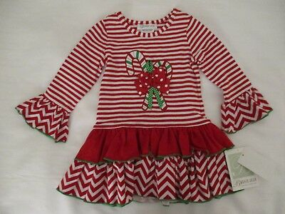 NWT toddler girls 2-pc green red white stripe elf outfit Bonnie Jean 18 mo 2T