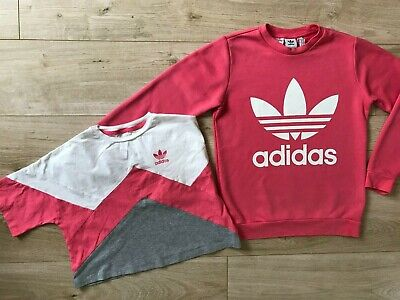 GIRLS Pink ADIDAS ORIGINALS SWEATSHIRT & T-SHIRT (age11-12) *NICE COND*