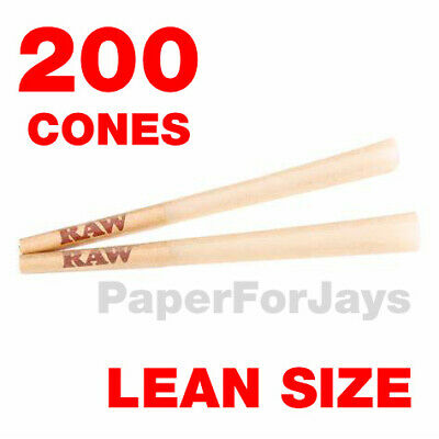 RAW Classic LEAN SIZE Pre-Rolled Cones (200 Pack of Authentic Raw Free Shipping)