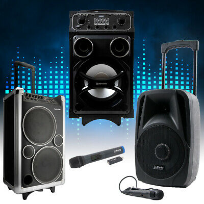 Dj Pa Portable Party Sound Music Systems Bluetooth USB MP3 RC Microphone Trolley