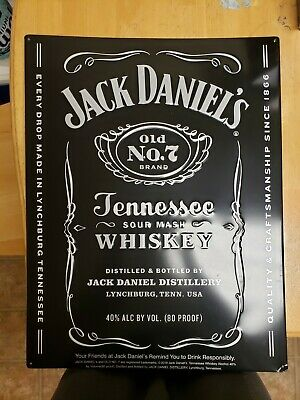 Man Cave Jack Daniels Old No.7 Large Premium Embossed Aluminum Metal Sign Bar