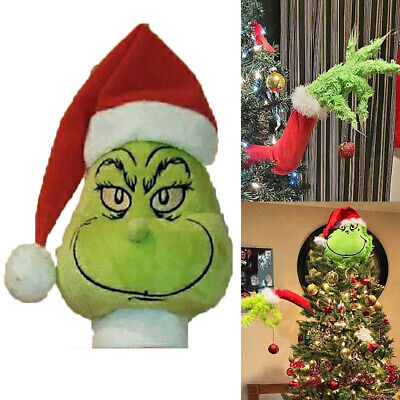 Grinch Christmas Decorations Furry Green Grinch Arm Ornament Holder Tree Sets US