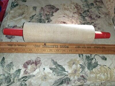 Vintage Wood Lefse Rolling Pin Grooved Very Nice Red Handles Original 14 43 Picclick Uk