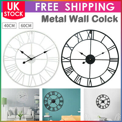 40/6CM0 Extra Large Roman Numerals Skeleton Wall Clock Big Giant Open Face Round