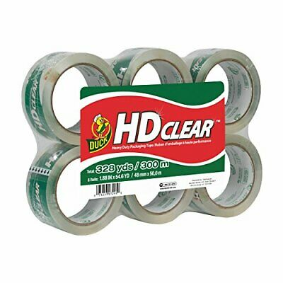 DUCK BRAND HD CLEAR PACKAGING TAPE 1.88 INCHES x 54.6 YARDS CLEAR 6 PACK 441962