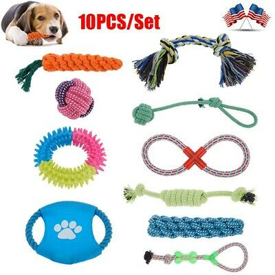 10PCS/Set Dog Rope Toys Chew Toys  for Puppy Small Medium Large Dog Durable USA