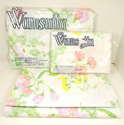 VTG NOS Wamsutta double fitted sheet floral no iron ultracale 54x75 in Les Fleur