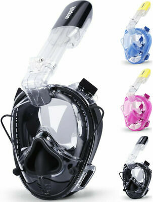 Full Face Dry Top Snorkel Mask by BlueFish 180 Panoramic View With Anti-Fog L//XL
