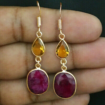 Rose Plated Earrings BEV-1124 Details about  /925 Sterling Silver Ruby /& Citrine Silver// Gold