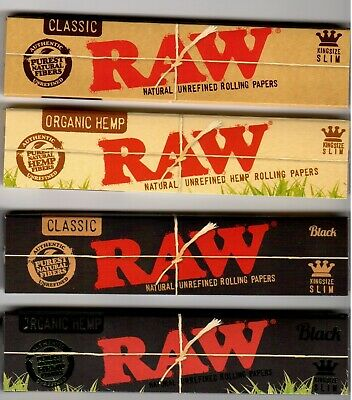 RAW Rolling Papers COMPLETE King Size Slim COLLECTION Classic Organic Hemp Black