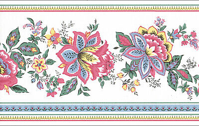 Red and Pink WALLPAPER BORDER Yellow Victorian Jacobean Floral Blue