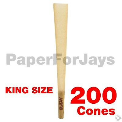 Raw Classic King Size  Pre rolled W tip cone (200 Packs) AUTHENTICFree Shipping