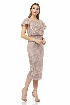NEW JS COLLECTIONS Pink Maple Embroidered Lace Flutter Sleeve Blouson Dress 6