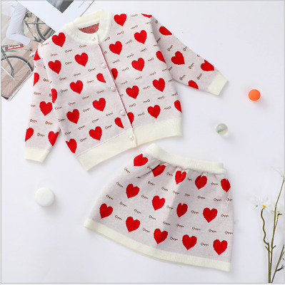 Romany Knitted Pleat Skirt Baby Girl Three Piece Frill Collar Top Cardigan Set