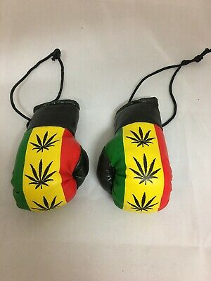 WEED LEAF YELLOW /& BLACK MINI BOXING GLOVES Roots Hang in your Car ROOTS RASTA