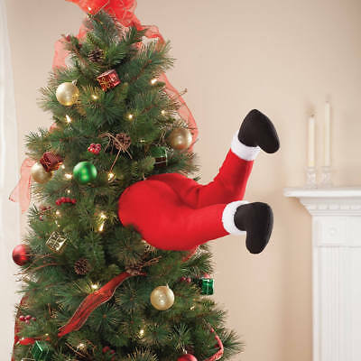 Details about  /Christmas Tree Large Bendy Stick Out Santa Legs Decoration Pinstripe B5W7