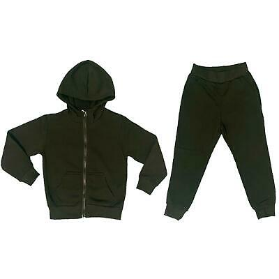 Boys Girls Kids Plain Fleece Tracksuit Joggers Jacket Jogging Bottoms Black