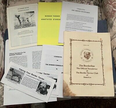 Border Terrier Dog lot ~ 1999 Official Borderline Booklet + other paper items