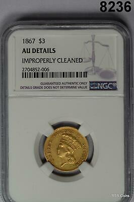 1867 $3 Gold Indian 2,600 Mintage Rare! Ngc Certified Au Details Cleaned #8236