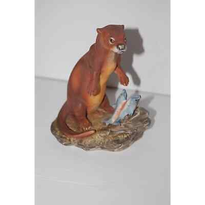Lefton China Kw132 Otter With Fish Figurine