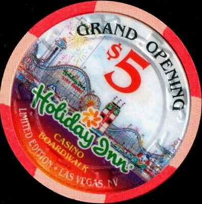 $5 Las Vegas Holiday Inn Boardwalk Grand Opening Casino Chip Version 2 - Unc.