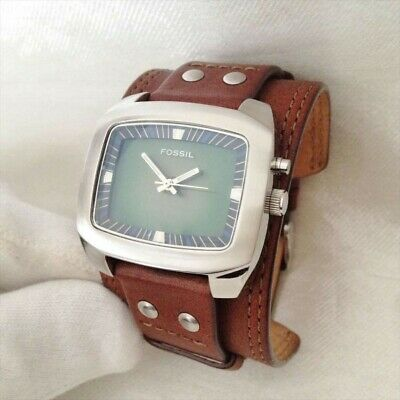 Fossil Watches Bigtic Leather Wristband Luminesion Needle Mens Bg-1081