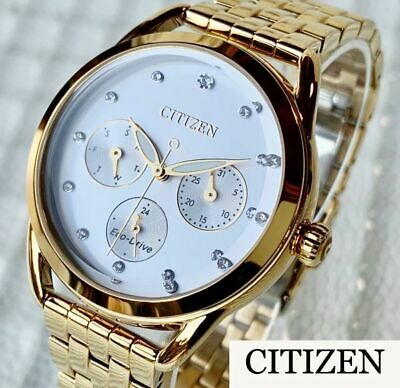 Large Citizen Chronograph Gold Women 'S Crystal Watch Eco Drive Life Waterproof