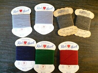 7 Sleeves Assorted Vintage Mending Wool, Chadwick's and Rochelle, used