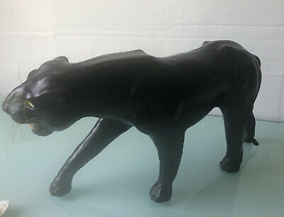 "Vintage Leather Wrapped Black Panther Sculpted Animals 9""X19""Wild Cat India 1970"