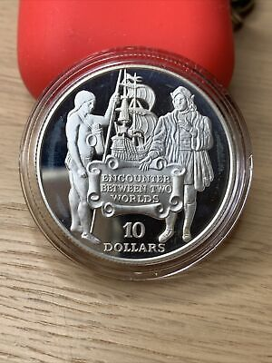 1991 Barbados Columbus and Native 10 Dollars Silver Proof Coin *8391