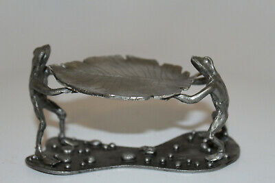 1974 Metzke Pewter Frogs Holding a Lilly Pad Figurine Statue Tray