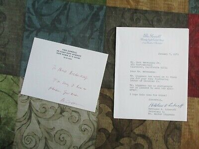 Walter Lippmann (Cold War,Author,Pulizer Prizes) signed The Lowell letter!