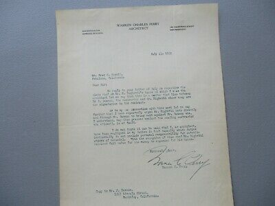 1932 Warren Charles Perry (Important San Francisco Architect) Signed letter!