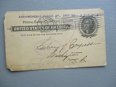 """1900 """"The Library of Congress"""" (purple postmark) Forbes signed Harlem,N.Y. Card!"""