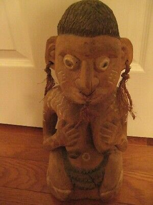 Vintage Hand Carved African Figure Fertility?  - African Art  15 inches x 6 1/4